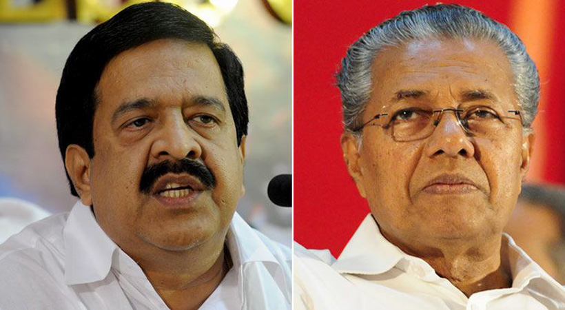 Pinarayi Vijayan and Leader of Opposition Ramesh Chennithala(L)