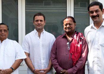 OPCC president Niranjan Patnaik (L) with Congress President Rahul Gandhi, Biramitrapur MLA George Tirkey and Jitendra Singh (R). Representative photo (OP)