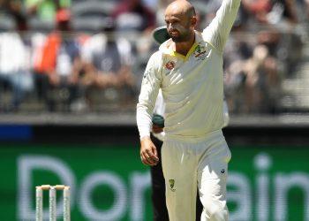 Nathan Lyon celebrates after taking the wicket of Rishabh Pant at Perth Stadium