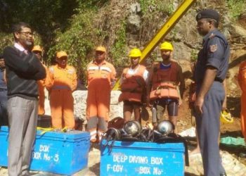 NDRF personnel gearing up to enter the coal mine pit in Meghalaya.