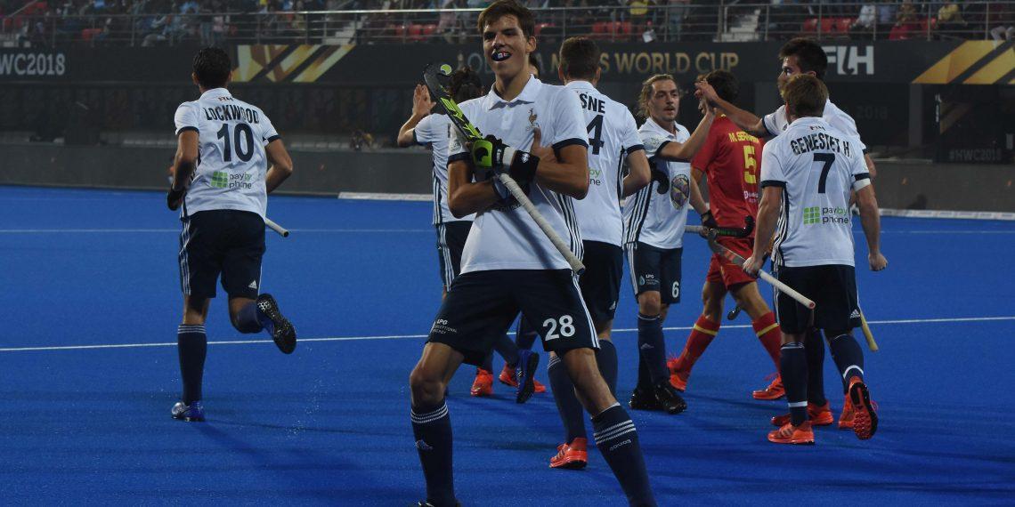 Timothee Clement celebrates after scoring against Spain at the Kalinga Stadium, Monday