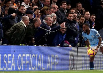 Chelsea fans abuse Manchester City's Raheem Sterling during their EPL match Saturday at Stamford Bridge