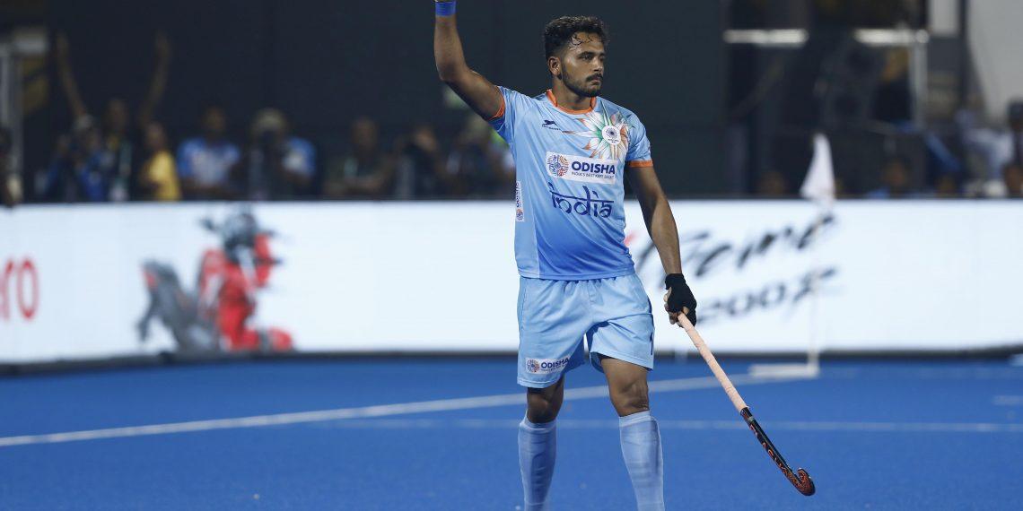 Harmanpreet Singh celebrates after scoring India's second goal against Belgium at the Kalinga Stadium, Sunday