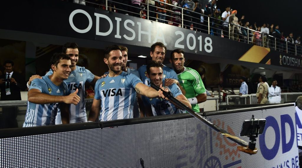 Argentina players take a groufie after their victory over New Zealand
