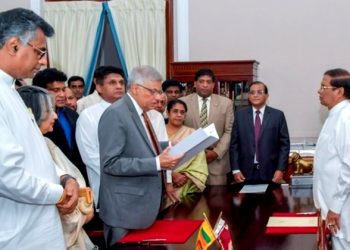 Sri Lanka's Prime Minister Ranil Wickremesinghe addresses his supporters and the party members after assuming duties in Colombo, Sri Lanka December 16, 2018. (REUTERS)