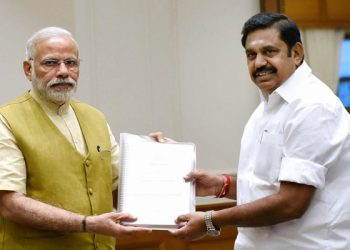 Edappadi K. Palaniswami (R) with PM Narendra Modi in Delhi. (PTI)
