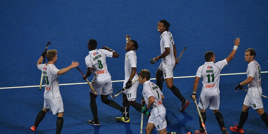 South Africa players celebrate after scoring against Canada at the Kalinga Stadium in Bhubaneswar, Sunday