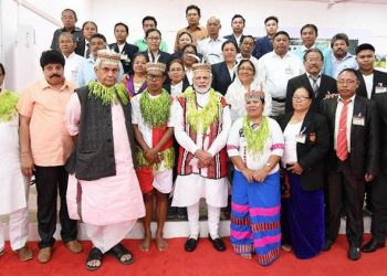 Prime Minister Narendra Modi interacts with the locals of Car Nicobar on Sunday. (TWITTER)