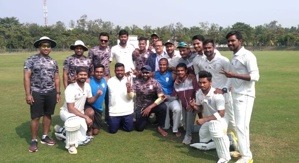 The triumphant Odisha team after their victory against Tripura at DRIEMS Ground in Cuttack, Saturday