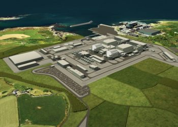 An image released on January 17, 2019 by Horizon Nuclear Power shows an artist's impression of the new Wylfa nuclear plant in Anglesey, north Wales due to be built by Hitachi (AFP)