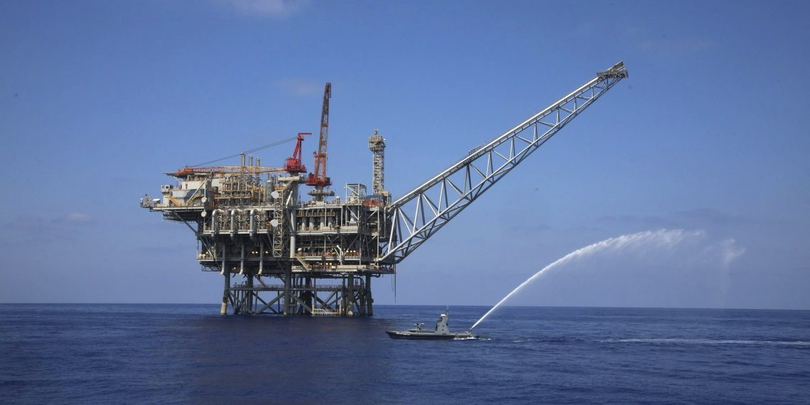 In this Sept. 2, 2015 photo, a rig is seen in the Tamar natural gas field in the Mediterranean Sea, off the coast of Israel. The discovery of natural gas fields off its Mediterranean coast has provided Israel a geopolitical boost with its neighbors. It's tightened relations with Arab allies and built new bridges in a historically hostile region -- even without significant progress being made toward peace with the Palestinians. (AP)