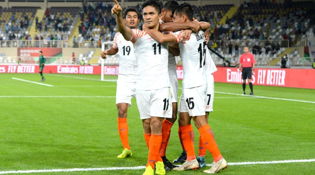 Sunil Chhetri celebrates one of his two goals against Thailand in the AFC Asian Cup Sunday