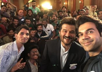 Anil Kapoor and Rajkumar Rao pose for a selfie with fans Photo @Anil Kapoor Twitter