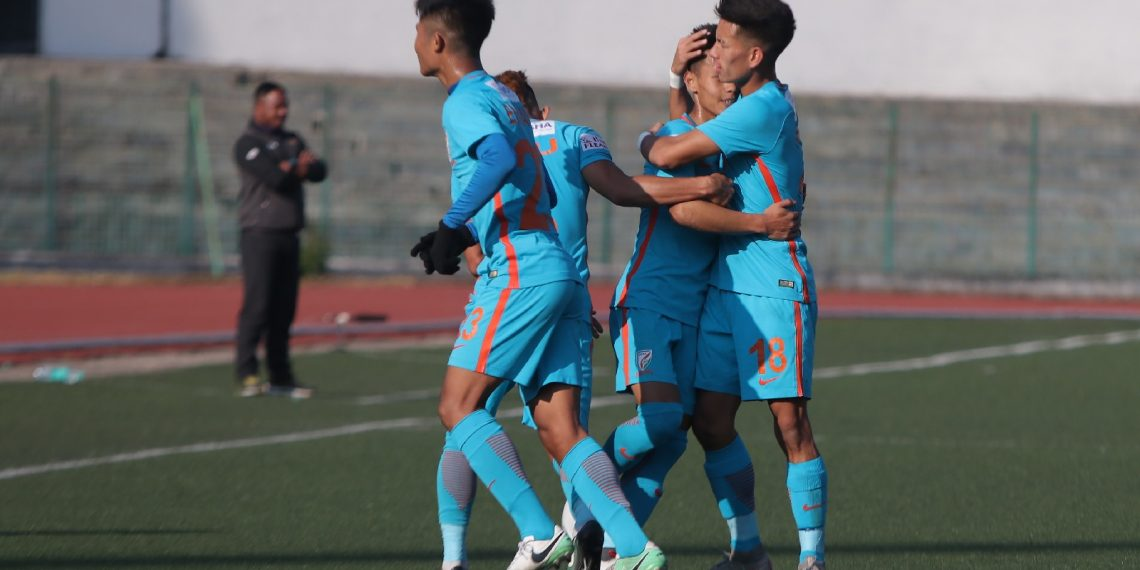 Indian Arrows players celebrate after scoring a goal against Shillong Lajong in Shillong, Sunday