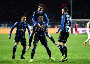Atalanta players celebrate after their win over Juventus