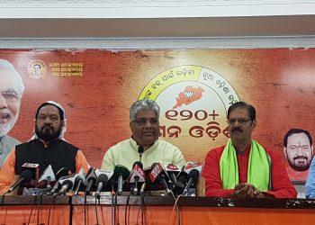 (L to R) BJP leaders Golak Mohapatra, Basant Panda, Bhupendra Yadav, KV Singh Deo and Samir Mohanty during the press meet, Sunday in Bhubaneswar