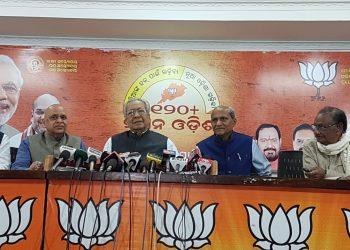 BJP leaders during the meeting in Bhubaneswar, Saturday