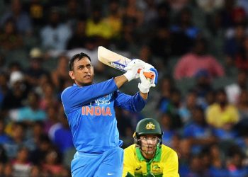 MS Dhoni looks on as he hits one out of the ground during his knock at Adelaide, Tuesday
