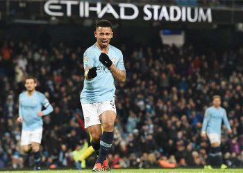 Gabriel Jesus celebrates after scoring against Burton, Wednesday (TWITTER)