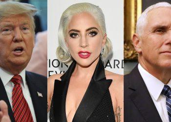 Prez Donald Trump(L), Lady Gaga(C) and American VP Mike Pence
