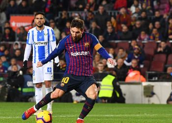 Lionel Messi in action during Barcelona's game, Sunday