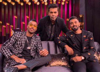 (From L): Hardik Pandya, Karan Johar and KL Rahul pose for a photograph at the talk show