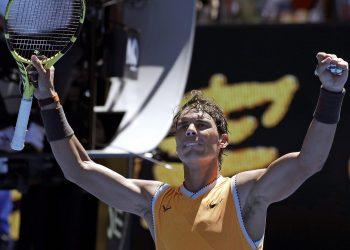 Rafa Nadal celebrates after his first round win at the Australian Open tennis tournament at Melbourne, Monday