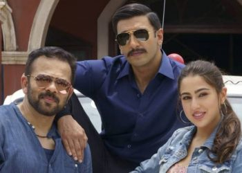 The Simmba team: Director Rohit Shetty and lead actors Ranveer Singh and Sara Ali Khan