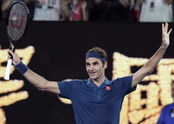 Roger Federer celebrates after his win Wednesday at the Australian Open
