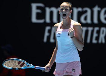 Karolina Pliskova celebrates her victory over Serena Williams in Melbourne, Wednesday