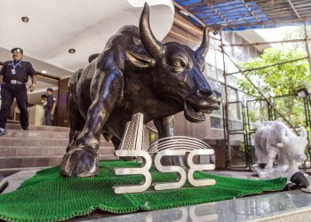 A bronze bull statue stands at the entrance to the Bombay Stock Exchange (BSE) building in Mumbai. (AFP)