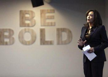 California Attorney General Kamala Harris speaks at the Facebook headquarters in Menlo Park, California February 10, 2015. REUTERS