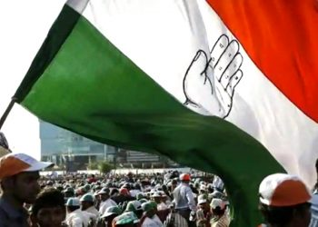 A supporter of Congress waves a flag at a Congress Rally (PTI)