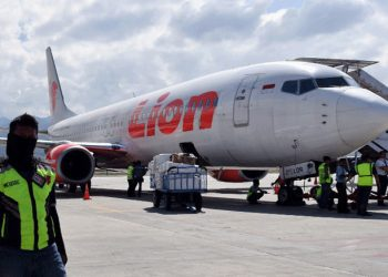 This photo taken on 10 October, 2018 shows a Lion Air Boeing 737-800 aircraft at the Mutiara Sis Al Jufri airport in Palu. Picture: (AFP)