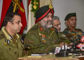 Indian Army's Lt General KJS Dhillon flanked by top J&K police officials addressing the media in Srinagar, Tuesday