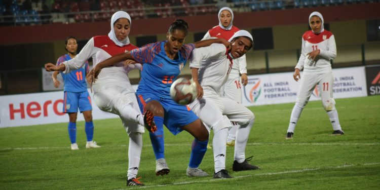 India and Iran players fight in out at the Kalinga Stadium, Saturday