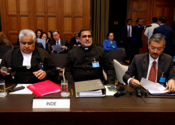 Indian Lawyer Harish Salve, VD Sharma and Deepak Mittal, Joint Secretaries, Indian Ministry of External Affairs at the ICJ during the hearing