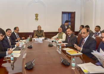 Finance Minister Arun Jaitley and other officials during the GST council meeting at New Delhi, Wednesday