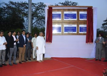 Chief Minister Naveen Patnaik inaugurates the High Performance Centers along with former India cricket captain Anil Kumble, eminent badminton coach Pullela Gopichand and Sports Minister Chandra Sarathi Behera at the Kalinga Stadium complex, Monday