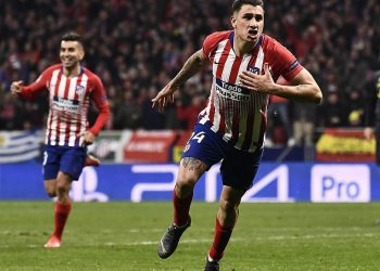Jose Gimenez celebrates after scoring the opener for Atletico Madrid in their Champions League encounter against Juventus, Wednesday