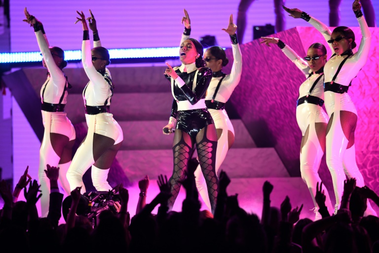 US singer-songwriter Janelle Monae brought her signature futurist blend of pop and psychedelic funk to the Grammys (AFP)