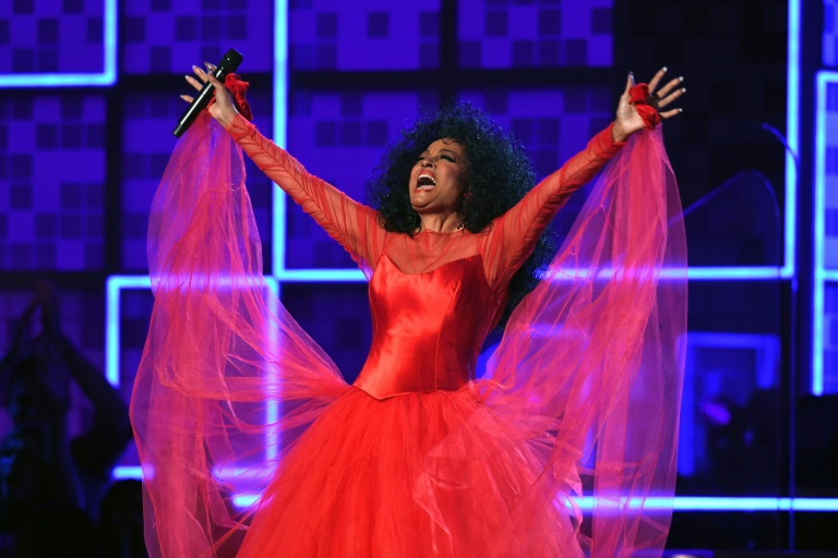 US singer Diana Ross performs at the Grammys in celebration of her upcoming 75th birthday (AFP)