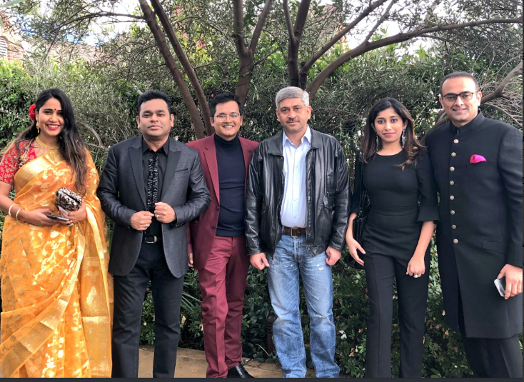 AR Rahman with friends and daughter Raheema (2nd right) posted this picture before attending the Grammy Awards     Photo@A R Rahman Twitter