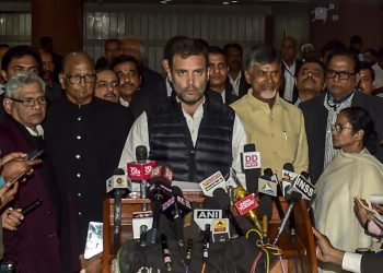 Congress president Rahul Gandhi along with leaders of other opposition parties, addressing the media, Wednesday