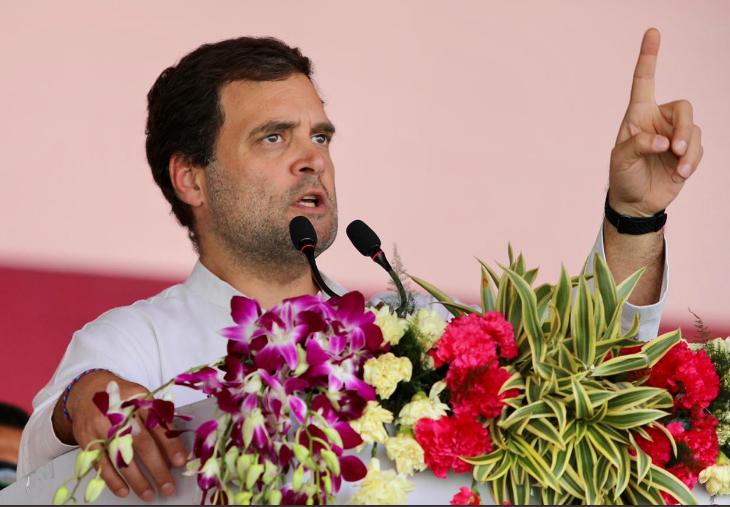 Rahul Gandhi addressing the gathering during the rally at Bhawanipatna, Wednesday  Photo courtesy Congress@Twitter