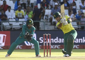 South Africa's Reeza Hendricks goes for a drive against Pakistan at Cape Town, Friday
