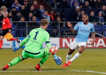 Raheem Sterling tucks in the winning goal for Manchester City in their Champions League game against Schalke, Wednesday