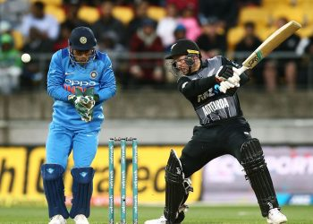 New Zealand's Tim Seifert cuts during his match-winning knock in the T20 game against India at Wellington