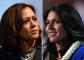 Kamala Harris (L), the first Indian-origin Senator and Tulsi Gabbard, the first Hindu lawmaker in the US Congress