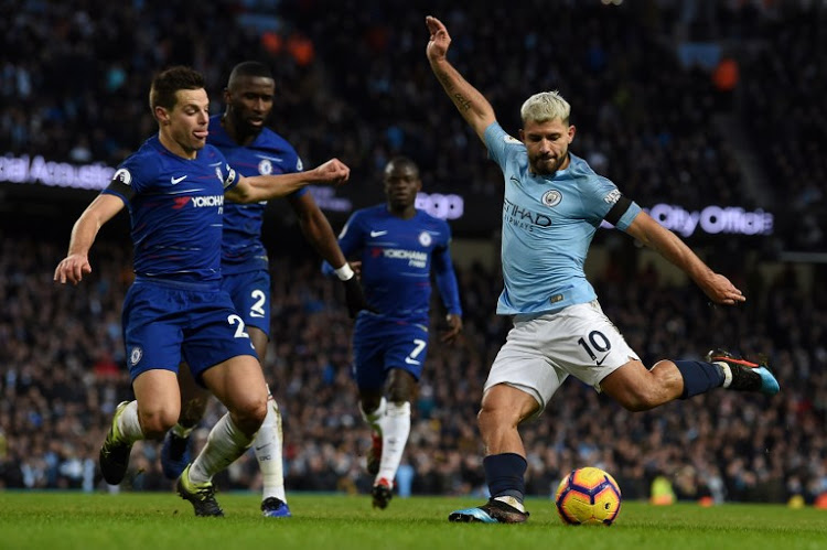 Sergio Aguero (No 10) was a constant source of danger to the Chelsea defence